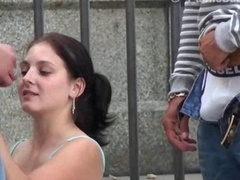 Public sex with a nice-looking young and fresh kitten in the city center by the notable statue Utterly NICE