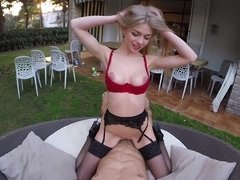 European girl is getting penetrated in the yard in her lingerie