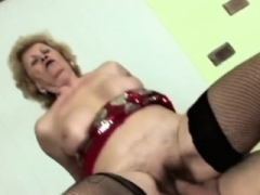 Aroused man licks lusty granny's unshaved pussy befo