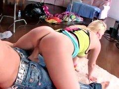 Yummy blonde Tristyn Kennedy sucks a dick before riding on it