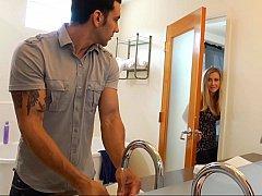 アメリカ人, 浴室, 美人, ブロンド, 浮気者