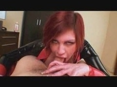 Trudi in latex dress gives blowjob And titfucks for facial cumshot