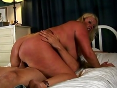 Charming melons blond aged spunker enjoys a facial cumshot
