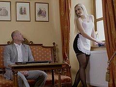 最高, ベッドルーム, ブロンド, 指いじり, キス, なめる, 下着, メイド