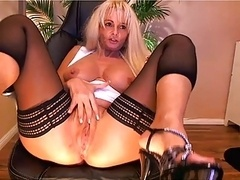 Large breast blonde old playing on cam - Part II