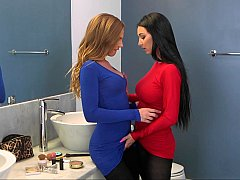 Bathroom make-out turns hotter