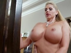 Two busty milfs are pushing their tits together to get tit fucked
