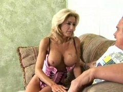 Grown-up blonde tube bound creampie