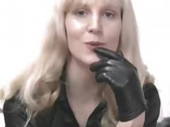 Blonde eager mom in leather gloves make you kinky fetish slave