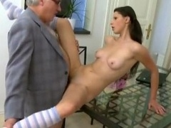 Pigtailed College girl Simona Fucked By Porky Aged Guy