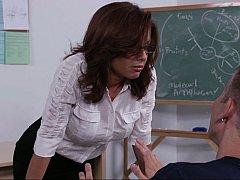 フェラチオ, 茶髪の, 女, 眼鏡, ヒール, オフィス, ストッキング, 教師