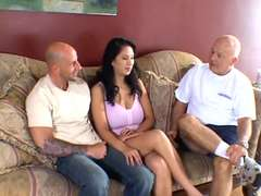 Old guy sees his youthfull wifey gets her jugs and vagina screwed