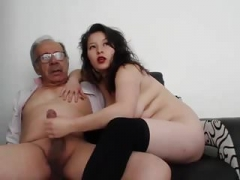A immature dame jerk off an aged man and he finished