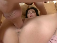 A slim bitch is on top of her man on the sofa and she is riding cock