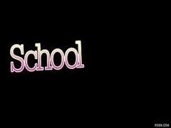 Soaked Internal cumshot For Excited Schoolgir...