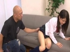 Kanna Harumi Far eastern schoolgirl shows off her shaggy beaver