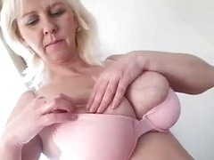 boobsy mature lady plays in the kitchen and moreover shower