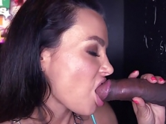 Bigtitted gloryhole girl wanks till cum in tits