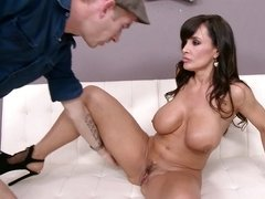 Brunette MILF superstar in black shoes needs a thick schlong