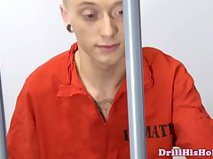 Gay prison jocks fuck ass behind bars