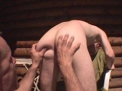 A lewd poofter gets his ass licked and fucked from behind on a balcony
