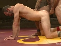 Two horny daddies enjoy fucking each other's butts on a ring