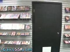 Twink goes to a video store to suck dick in public