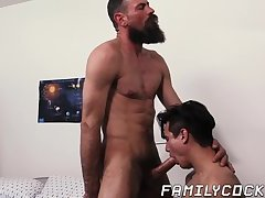 Big beard daddy shoves his dick in stepsons tight ass