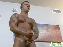 Horny Johnny B stroking his fat cock until he cums hard