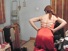 Crossdressing in a sexy red prom dress