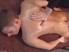 Davis is taken over the edge by masseur