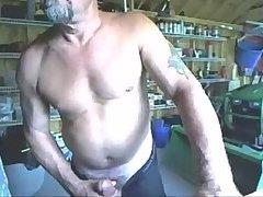 Mature stud jerking in his garage