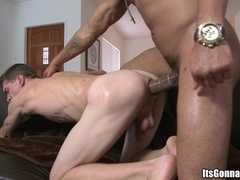 Handsome homo gives head to Castro Supreme and jumps on his black dick