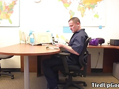 BDSM hunk spanks and whips sub in his office