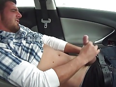 Sexy gorgeous stud cums in his car