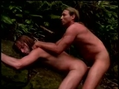 Two long-haired gays bang in a forest after sucking each other's wangs