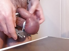 Quick Cum from Stretched Testicles