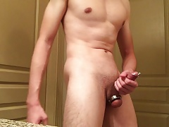 Cock Stroking and Swinging in Penis Plug and Ball Weight