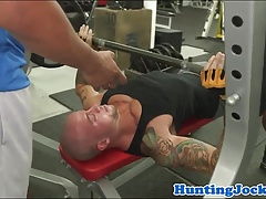 Pulled fitness jock assfucked at the gym