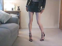 My new leather mini skirt and heels