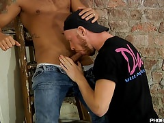 Handsome homo with cute tattoos gets drilled by his lover