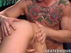 Tattooed ball lickers go down on each other passionately