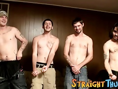 Straight inked dudes showing dicks jerk off contest