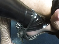 Cum on CD latex legs and feet
