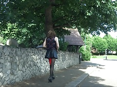 Alison having a wank outside - Stocking, Leather and plugged