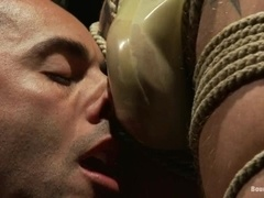 Gianni Luca gets his mouth and ass destroyed in gay BDSM video