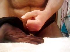 Masterbating in Stockings and Cumming on Nylon Hot
