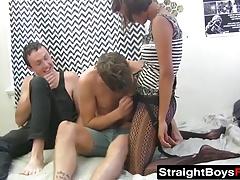 Kinky cuckold watches hot couple bang