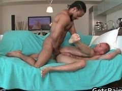 Blond man sucking and besides riding black love tool
