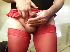 red frilly panties and red nylons made me kinda hard